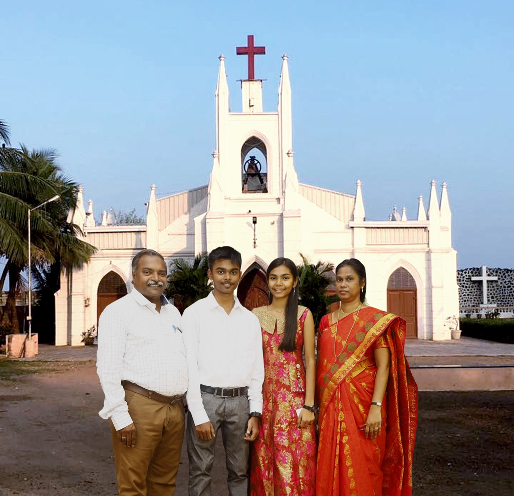 Paul Sudhakar Family with Church BG trimmed